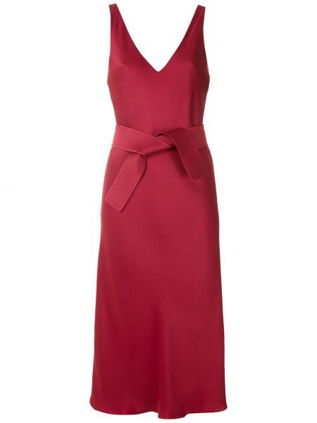 Красное тонкое платье миди с открытой спиной на бретелях Gloria Coelho
