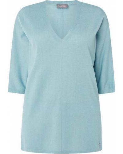 Niebieska bluzka z wiskozy z dekoltem w serek Samoon