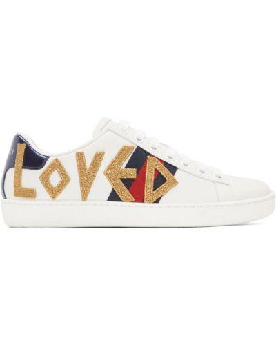 Skórzany biały sneakersy na sznurowadłach okrągły Gucci