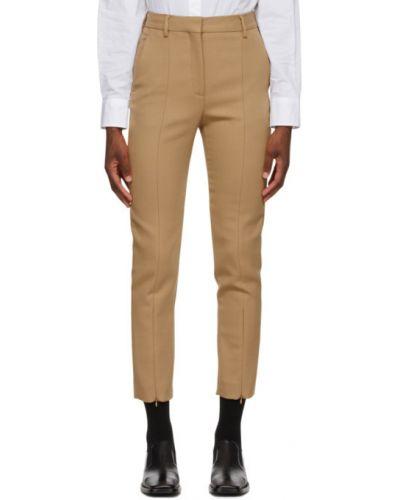 Wełniany jasnoróżowy spodnie o prostym kroju z paskiem z mankietami Mm6 Maison Margiela