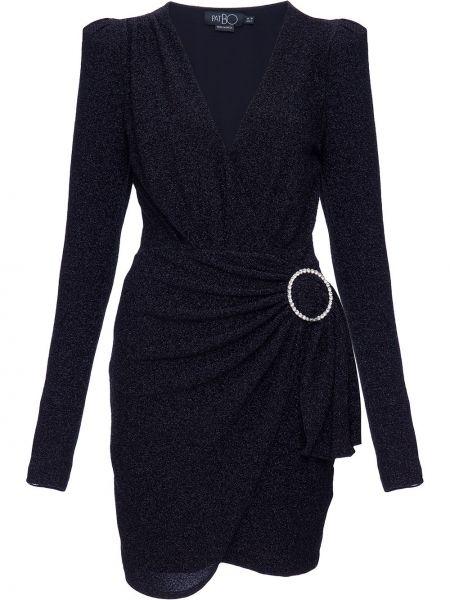 С рукавами черное платье мини с запахом с V-образным вырезом Patbo