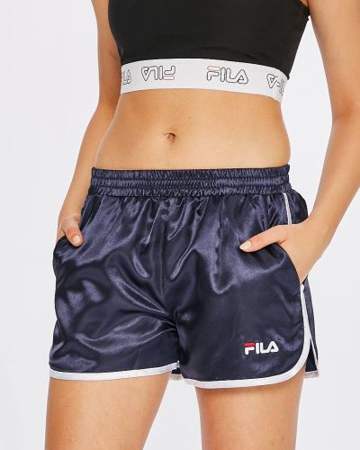 Спортивные шорты с завышенной талией темно-синий Fila