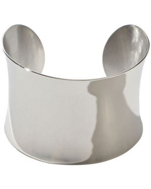 Широкий браслет свободного кроя серебряный Exclaim