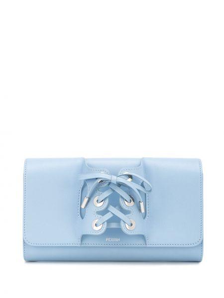 Кожаная синяя кожаная сумка на шнуровке Perrin Paris