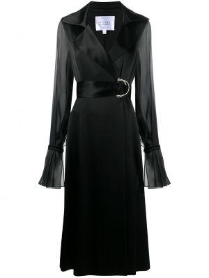 Satynowy czarny płaszcz z długimi rękawami Galvan