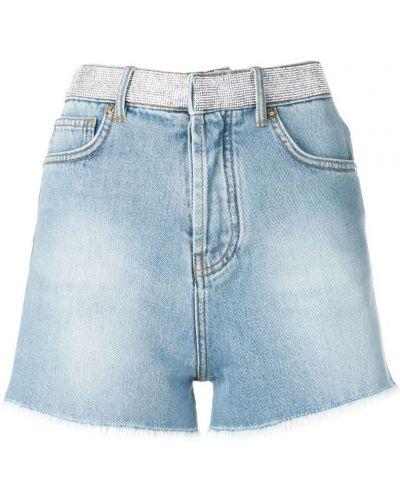 Однобортные джинсовые шорты с карманами со стразами Alexandre Vauthier