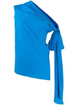 Niebieska bluzka asymetryczna z jedwabiu Roland Mouret