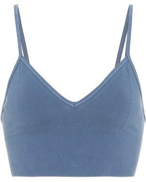 Niebieski biustonosz sportowy bawełniany Alo Yoga