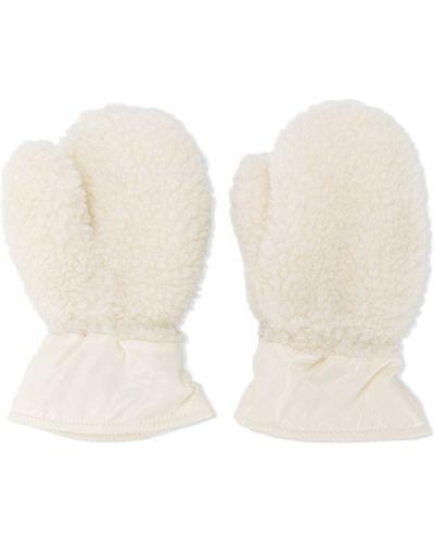 Bawełna biały akryl rękawiczki z mankietami Moncler Kids