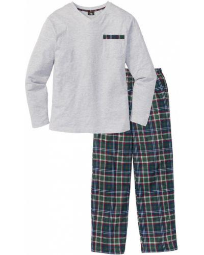 Пижама в клетку - серая Bonprix