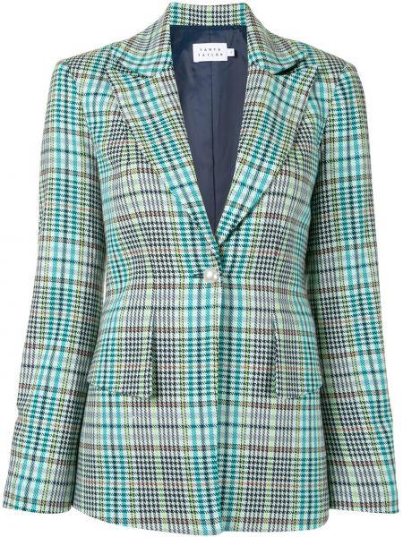 Зеленый удлиненный пиджак в клетку на пуговицах Tanya Taylor