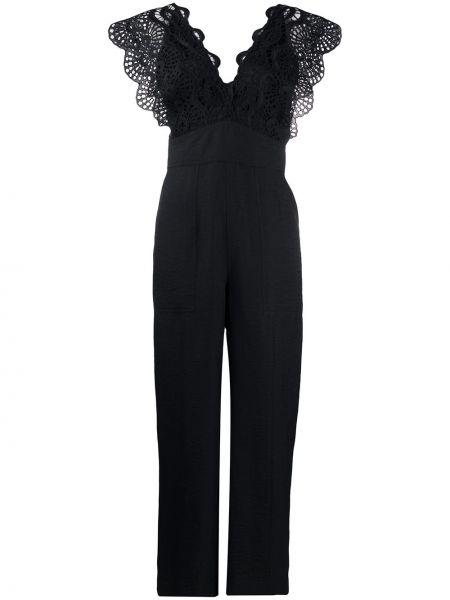 Черный комбинезон с вышивкой с V-образным вырезом с карманами Sandro Paris