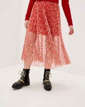 Плиссированная юбка розовая красный Pinko