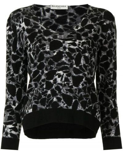 Z rękawami sweter z okrągłym dekoltem z mankietami z dekoltem w szpic Balenciaga Pre-owned