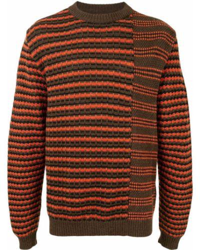 Шерстяной прямой коричневый джемпер в рубчик Coohem