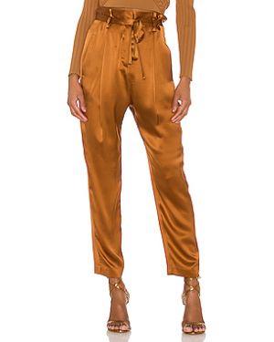 Коричневые брюки в рубчик с поясом с декоративной отделкой Michelle Mason