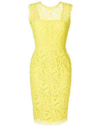 Желтое ажурное платье миди Sophia Kah