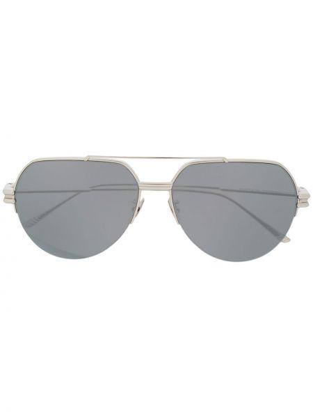 Прямые муслиновые солнцезащитные очки хаки Bottega Veneta Eyewear