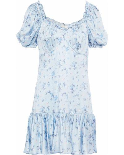 Шелковое синее платье мини с манжетами Loveshackfancy