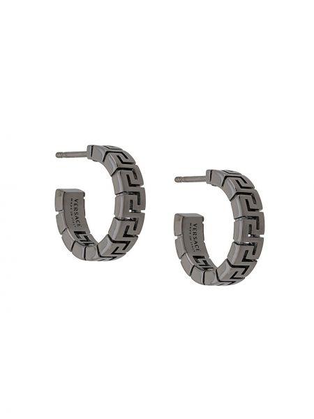 Серебряные серьги-кольца металлические Versace