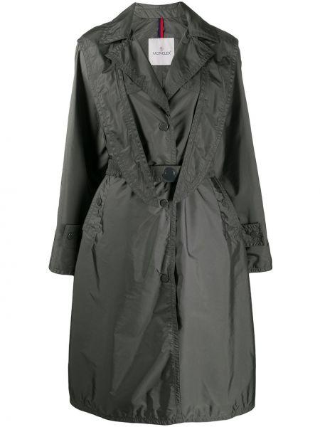 Пальто с капюшоном серое с воротником Moncler