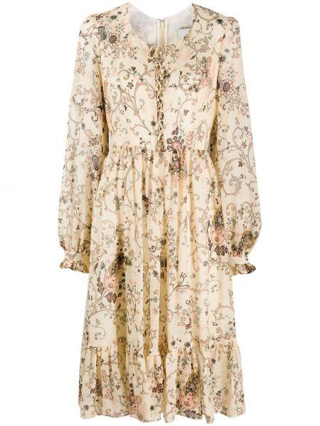 С рукавами шелковое платье миди в цветочный принт Etro