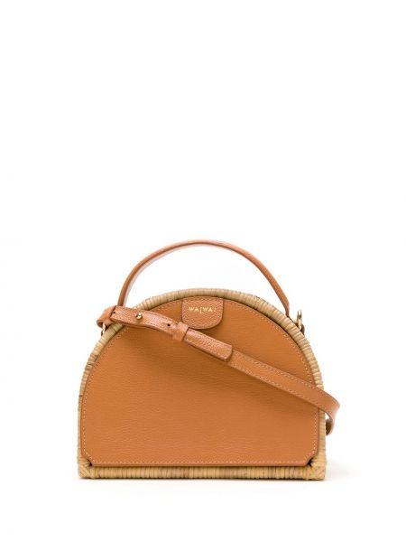 Skórzany brązowy torba na ramię z kieszeniami Waiwai Rio