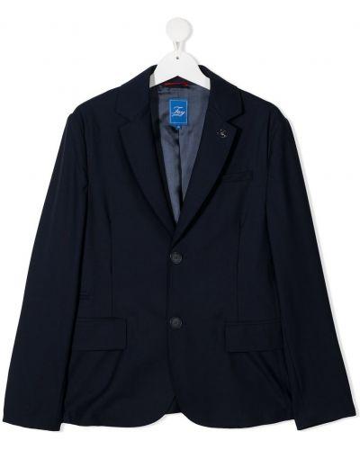 Шерстяной синий классический пиджак с карманами Fay Kids