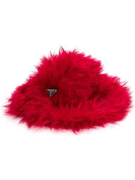 Czerwony kapelusz bawełniany Prada
