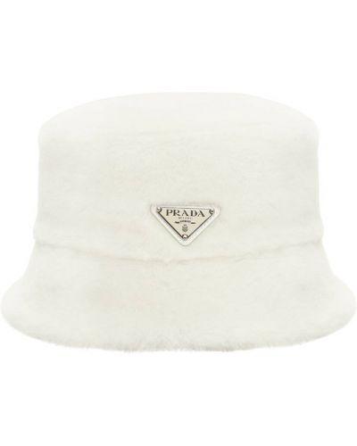 Biały kapelusz Prada
