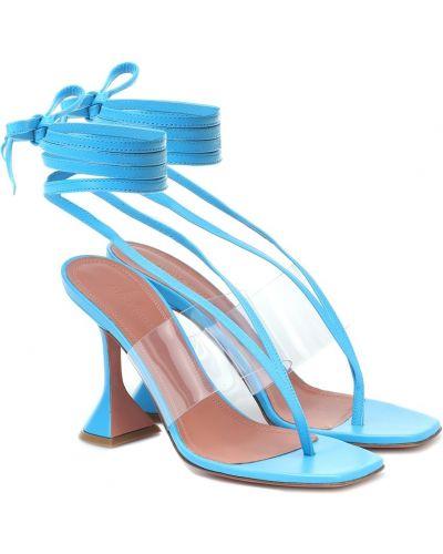 Niebieski sandały z prawdziwej skóry przycięte Amina Muaddi