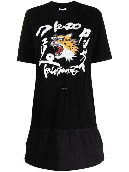 Хлопковое черное платье-рубашка с карманами Kenzo