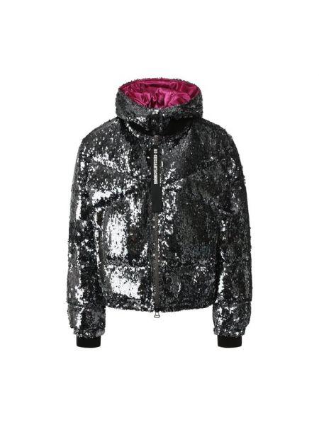 Тонкая серебряная нейлоновая стеганая куртка с пайетками As65
