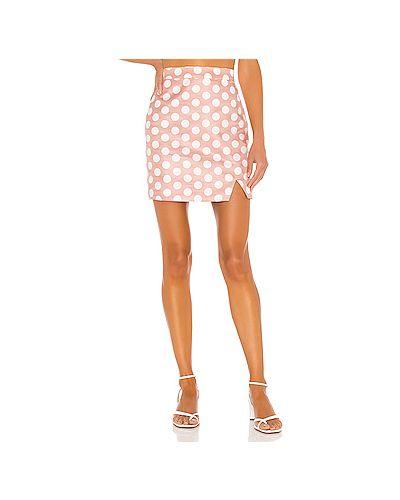 Шелковая розовая юбка мини на молнии с вырезом Camila Coelho