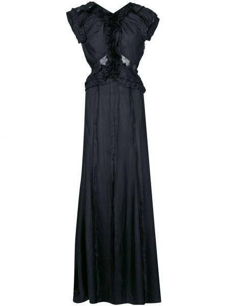 Шелковое черное расклешенное платье мини с оборками Jason Wu Collection