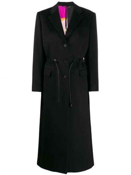 Шерстяное черное длинное пальто с капюшоном Salvatore Ferragamo