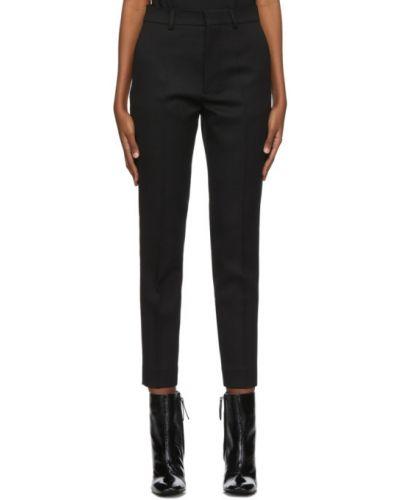Шерстяные брючные черные брюки-сигареты с поясом Ami Alexandre Mattiussi