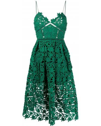 Ажурное зеленое платье миди с вырезом Self-portrait