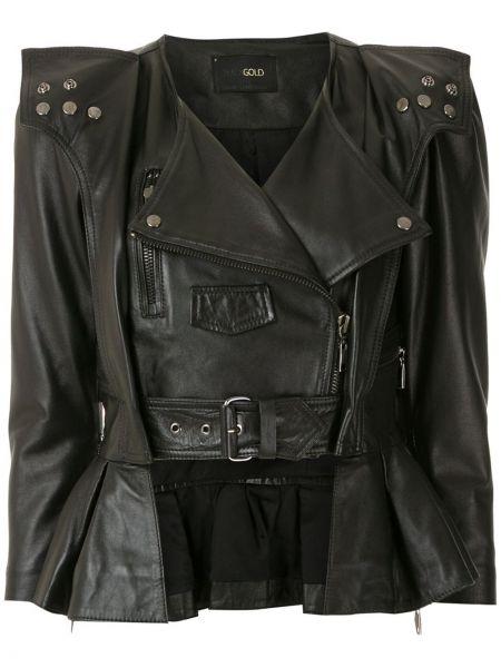 Черная кожаная короткая куртка байкерская Andrea Bogosian
