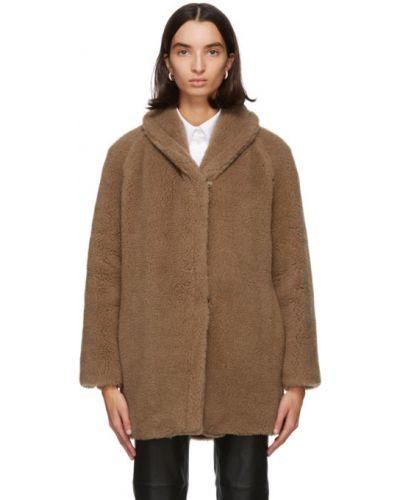 С рукавами шерстяное длинное пальто с воротником с подкладкой Max Mara