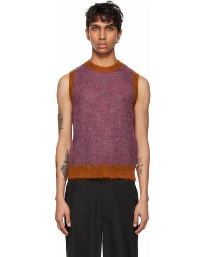 Fioletowy sweter bez rękawów moherowy Marc Jacobs