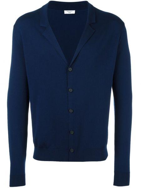Шерстяной синий кардиган с лацканами Fashion Clinic Timeless