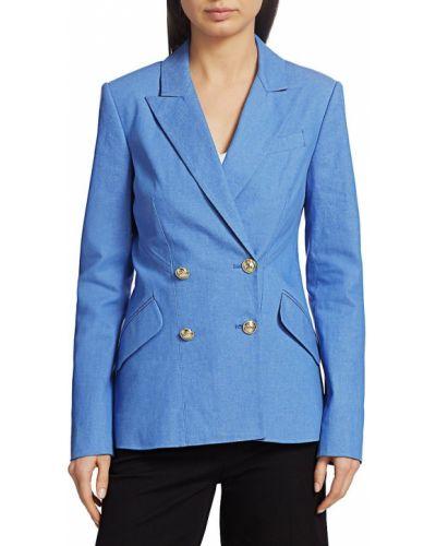 Синяя длинная куртка с длинными рукавами с карманами Derek Lam