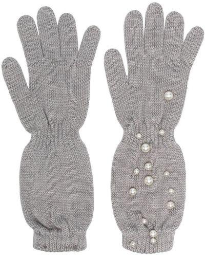 Серые акриловые перчатки без застежки с жемчугом Monnalisa