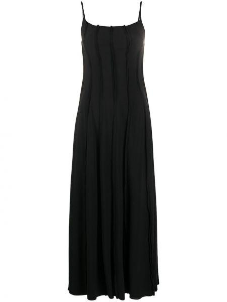 Шелковое черное платье макси квадратное Phaedo Studios