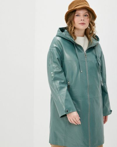 Зеленая кожаная куртка Le Monique