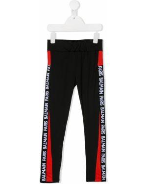 Czarne legginsy z printem Balmain Kids