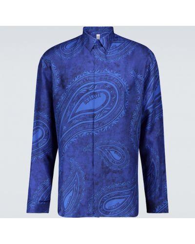 Шелковая рубашка - синяя Berluti
