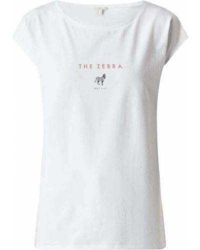Biała bluzka bawełniana z printem Edc By Esprit