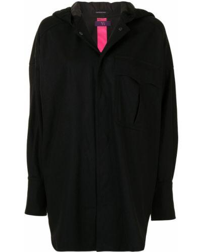 Черное длинное пальто оверсайз с капюшоном Y's